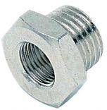 """Fil raccord cylindrique réducteur, en laiton nickelé, G 1/2"""" à 1/4"""" IG"""